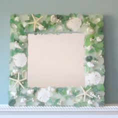 Beach Decor Seashell Mirror - Nautical Sea Glass Shell Mirror w White Starfish & Pearls - Green via Etsy