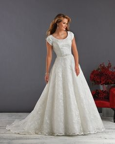 Modest tulle A-line Wedding Dress size 20