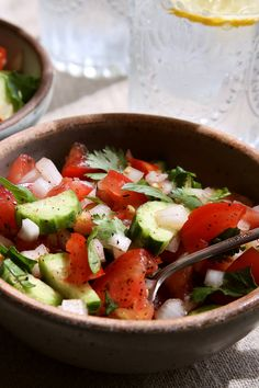Tomatoes, Persian cucumbers, onion and fresh herbs make up this incredibly refreshing salad. (Jim Wilson/NYT)
