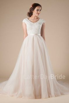 modest wedding dresses, Tiana with ballgown fit, lace, and blush color