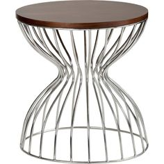 Miromar End Table w/ Walnut Top on Hourglass Stainless Frame #dynamichome #modernstyle #homedecor #interiordesign #interiors #furniture #steel #table #sidetable #endtable