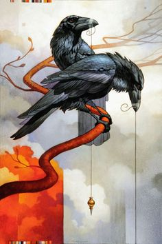 Art of Craig Kosak.Huguen and Muguen Crow Art, Raven Art, Rabe Tattoo, Crow Painting, Crows Ravens, Bird Artwork, Southwest Art, Wildlife Art, Magazine Art