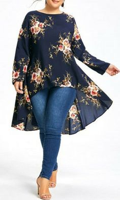 Plus Size Floral Printed Long Chiffon High Low Top