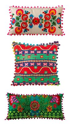 Fun and colorful pillows for my bohemian themed trailer. or bedroom. or every room//