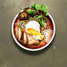 Food illustration — Spicy Sriracha Duck Ramen Noodle Soup