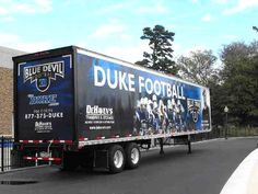 Duke University Blue Devils trailer for transporting football equipment to away games.