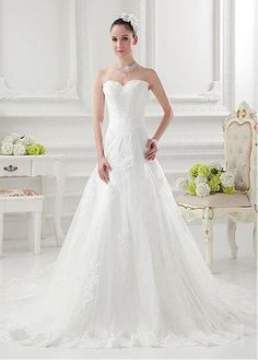 ALLURING SATIN TULLE A-LINE SWEETHEART NECKLINE NATURAL WAISTLINE WEDDING DRESS FORMAL PROM EVENING PARTY GOWN