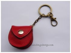 Red Mini coin purse/guitar pick case : handmade leather keychain. $9.00, via Etsy.