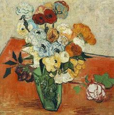 Still Life: Japanese Vase with Roses and Anemones  Oil on canvas  51.0 x 51.0 cm.  Auvers-sur-Oise: June, 1890