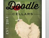 FREE CUSTOMIZATION Goldendoodle Labradoodle Wine Cellars Vineyards Poster Sign  Archival Giclee Print