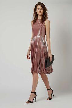 PETITE Metallic Lamé Pleated Midi Dress - Dresses - Clothing - Topshop