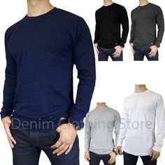 5052cf93107 Details about Mens 100% Cotton THERMAL TOP Crew Neck Long Sleeve Shirts  Underwear Waffle Color