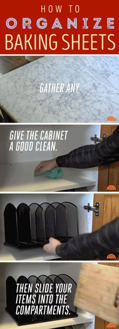 Slip an office-supply-store letter organizer into a cabinet to make all of your…