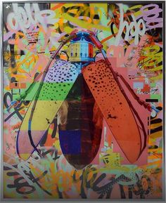'The Hive' by Dominic Vonbern - Original mixed media artwork UV print over spray acrylic paints and pen. Graffiti, Mixed Media Artwork, Pin Art, Natural Forms, Best Artist, Art World, Art Boards, Designer, Modern Art