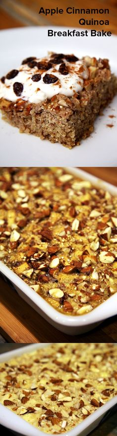 Cinnamon Quinoa Breakfast Bake Ingredients 1 cup uncooked quinoa 1 1/2 teaspoons cinnamon 1/2 teaspoon nutmeg 1/8 teaspoon ground cloves 2 apples, peeled, diced 1/4 cup raisins 2 eggs 2 cups vanilla soy milk (can substitute regular milk) 1/4 cup maple syrup 1/3 cup almonds, chopped