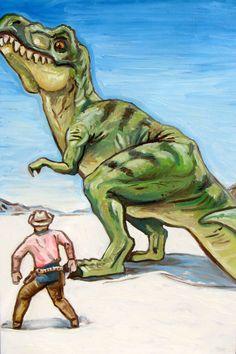 Original Artwork Oil Painting 24 x 36 Cowboys and Dinosaurs