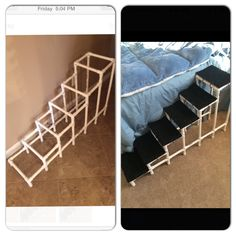 DIY dog steps made with pvc pipes and fittings , wood and outdoor carpet !!