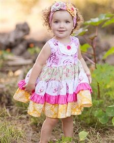 Giggle Moon Baby - Honeycomb & Blossoms Party Dress
