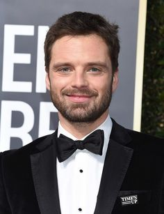 Sebastian Stan supports the Time's Up Movement at the 75th Golden Globe Awards, 7 Jan 2018