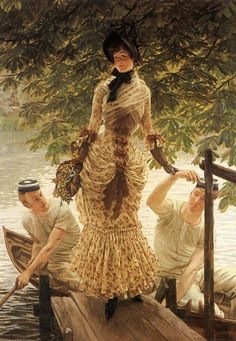 ON THE THAMES by James Jacques Joseph Tissot - J. A French painter who spent most of his life in Victorian England. Beaux Arts Paris, Art Ancien, Joseph, French Artists, Art History, Art Gallery, Illustrations, Fine Art, Women