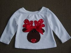 Items similar to Reindeer T-Shirt on Etsy Christmas Sewing, Christmas Shirts, Ugly Christmas Sweater, Kids Christmas, Christmas Crafts, Xmas, Little Girl Outfits, Toddler Girl Outfits, Kids Outfits