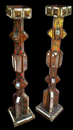 Beautiful Polychrome Tall Pair of Peruvian floor  Candle holder in Gothic style - The original design is enriched by intense Polychrome colors and wood carving work.  Very Good Condition - Ca. 1840 - 1890  LENGTH: (15.7 inches) DEPTH: (15.7 inches) HEIGHT: (52.3 inches) LENGTH: (40 cm) DEPTH: (40 cm) HEIGHT: (133 cm)