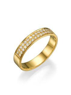 New to shireeodiz on Etsy: 14k Yellow Gold Classic Flat Wedding Ring 0.24 ct Diamond Unisex Band  Semi-eternity Diamonds Studded Band Engagement Ring (560.00 USD)