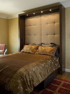 "Murphy Bed Design.  Beefy ""frame"" and upholstered headboard (almost ceiling height) w/down lights."