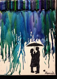 """A walk in the rain"" crayon art canvas! This makes a wonderful gift for a special someone! Need: 1.) 8*10 canvas 2.) crayons 3. Hot glue gun 4.) blow dryer 5.) a picture of a couple with an umbrella (Google) 6.) scissors( to cut out picture)  7.) pencil (to trace to the picture onto the canvas)  8.) black sharpie"