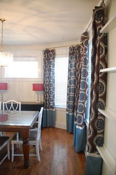 Trapped In North Jersey: dining room curtains, made from Target shower curtains & added fabric at bottom