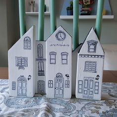 for my dining room table. Scrap Wood Crafts, Wooden Crafts, Paper Crafts, Crafts To Make, Home Crafts, Crafts For Kids, Diy Crafts, Clay Houses, Wooden Houses