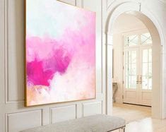 Creamcicle Pink Abstract Fine Art Print, Soft White Painting, Beautiful Large Wall Art, Unique Interior Design ideas on canvas aesthetic pink Acrylic Art, Acrylic Painting Canvas, Knife Painting, Large Wall Art, Framed Art, Large Abstract Wall Art, Pink Painting, Large Painting, Painting Art