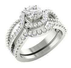 a66061af8c3 1.30CT D VVS Diamond Engagement Wedding Band Bridal Ring Set 14k White Gold