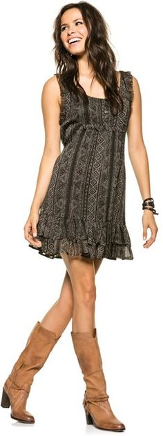 Back to black in a Billabong dress and Matisse boots. http://www.swell.com/BACK-TO-BLACK-5 @SWELL