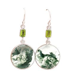 Round Translucent Moss Agate and Faceted Peridot Baguette Dangle Earrings