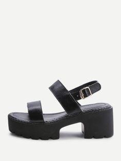 Sandalias de tiras de negro Plataforma de PU