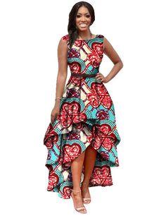 Women Fashion Dress Maxi Dress Cute Brand Designer African Dresses for Women Dashiki Ankara Dresses Custom Cascading RuffleWY447