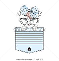 Lovely Kitty Girl In Stripy Pocket, Hand Drawn Graphic, Girl Print Stock Vector Illustration 377640112 : Shutterstock
