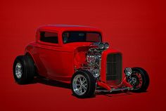 This 1932 Ford 3 Window Hot Rod has been featured in the Hot Rod and the Vehicle Enthusiast Groups on Fine Art America.