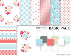 Shabby Chic Digital Paper Pack Clipart Paper Pack by BetsyRainbow, $2.00