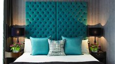 Lovely teal bedhead at Mayfair London
