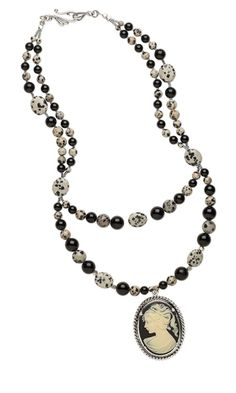"Double-Strand Necklace with Cameo Cabochon, Dalmatian Jasper and Black ""Jade"" Gemstone Beads"