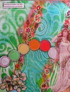 Mixed Media Art Journal page by Frieda Oxenham using StencilGirl stencils.