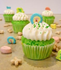 Lucky Charms Cupcakes   1 box white cake mix  3 eggs  ¾ cup sour cream  ¾ cup milk  1/3 vegetable oil  ½ tsp vanilla extract   ½ cup finely crushed Lucky Charms (cereal pieces only, no marshmallows)  ~25 drops green food coloring