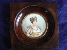 A Lovely Antique 19th Century French Portrait Miniature Of Beautiful Lady, In Its Original Frame