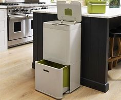 Intelligent Waste: All-In-One Garbage, Recycling, and Food Waste Bins Garbage Recycling, Recycling Storage, Recycling Center, Trash Compactors, Waste Container, Clever Gadgets, Clean Grill, Kitchen Gadgets, Kitchen Tools