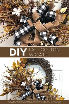 Fall is just around the corner. It's the perfect time to make a Fall Cotton wreath. This is a simple fall wreath you can make to spruce up your home. #howtomakewreaths #decoexchange #fallwreaths #homedecor #wreathtutorial Fall Wreath Tutorial, Diy Fall Wreath, Fall Wreaths, Deco Mesh Wreaths, Door Wreaths, Floral Wreaths, Wreath Ideas, Summer Wreath, Autumn Wreaths For Front Door