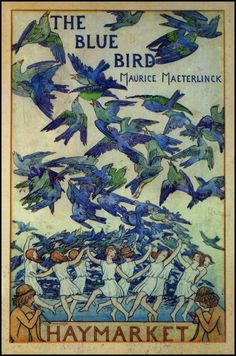 Cover art for The Blue Bird (1909) by Maurice Maeterlinck (1862–1949) – Frederick Cayley Robinson (1862–1927)