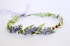 Lavender crown, Bridal hair wreath, Lilac halo, Purple headpiece, Rustic crown, Mint green lilac hair wreath,  Floral headband