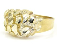 Mens 10k Yellow Gold Small Nugget Ring